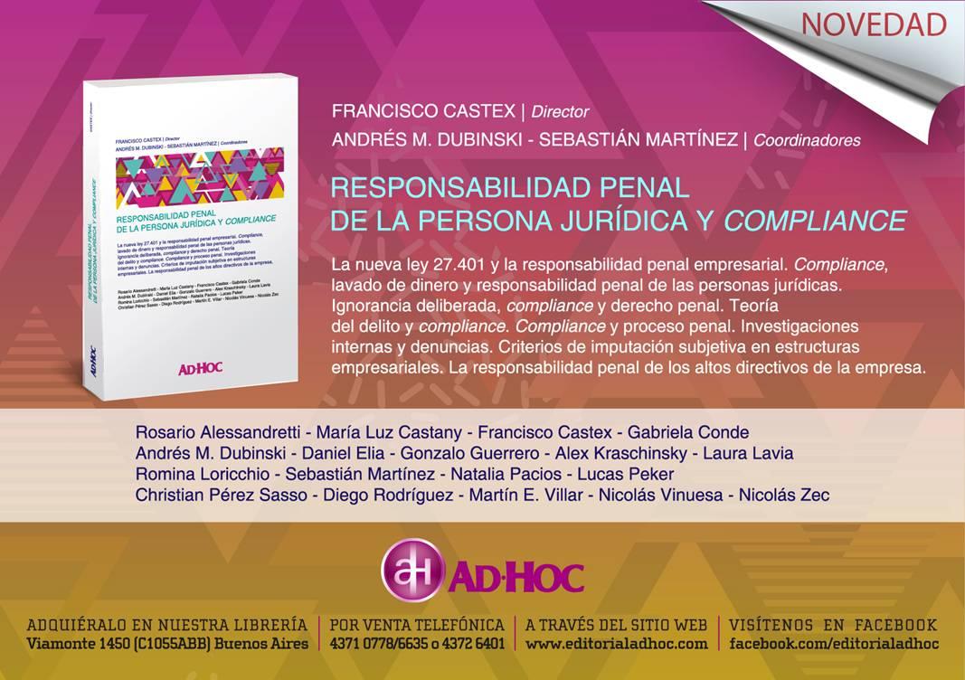 LIBRO RESPONSABILIDAD PENAL DE LA PERSONA JURÍDICA Y COMPLIANCE.